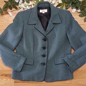 Le Suit Blue, Black, and White Blazer